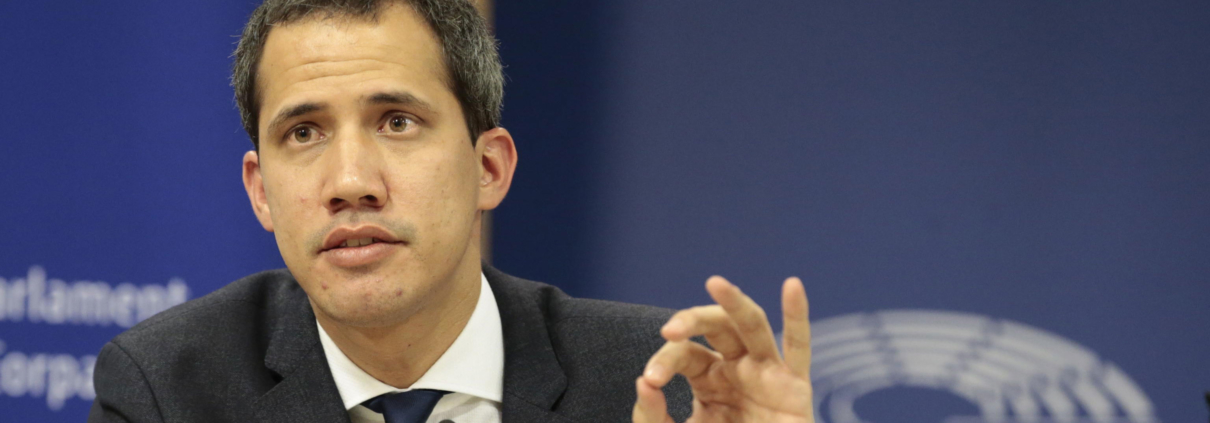 Il leader dell'opposizione Juan Guaid interviene al Parlamento europeo